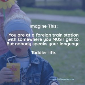 Imagine being where nobody speaks your language. Toddler life.